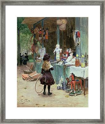 At The Champs Elysees Gardens Framed Print by Victor Gabriel Gilbert