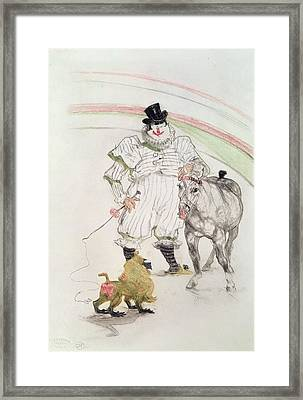 At The Circus Performing Horse And Monkey, 1899 Chalk, Crayons And Graphite Framed Print by Henri de Toulouse-Lautrec