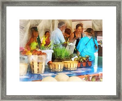 At The Farmer's Market Framed Print by Susan Savad