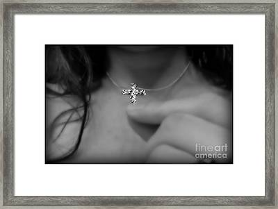 At The Foot Of The Cross Framed Print by Meagan Hoelzer