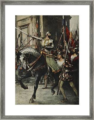 At The Head Of A Large Body Of Men Rode Framed Print by Ferdinand Leeke