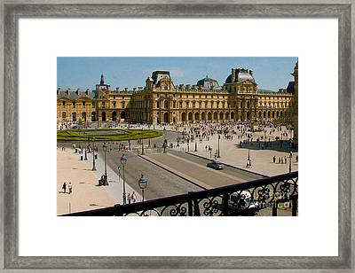 At The Louvre Framed Print by Lew Lautin