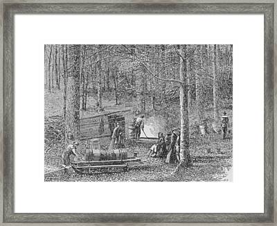 At The Maple Syrup Camp Framed Print by American School