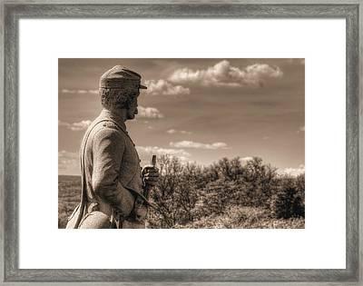 At The Ready - 84th Ny Vol Infantry 14th Brooklyn Regiment Red Legged Devils Railroad Cut Gettysburg Framed Print by Michael Mazaika