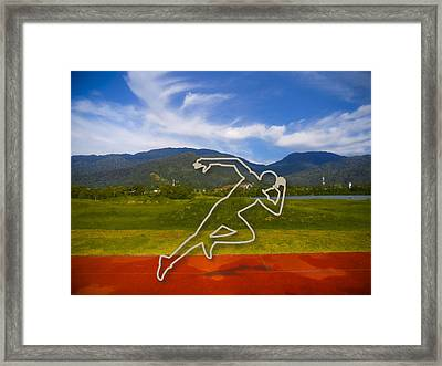At The Running Track Framed Print by Ym Chin