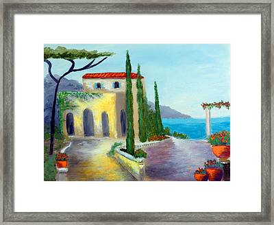 At The Seaside Amalfi Framed Print by Larry Cirigliano