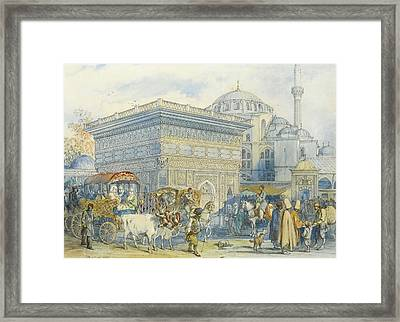 At The Tophane Fountain Framed Print by Amadeo Preziosi
