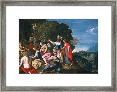Athene And The Nine Muses At The Wells Of Hipokrene, 1624 Oil On Copper Framed Print by Johann or Hans Konig