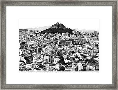 Athens City View In Black And White Framed Print by John Rizzuto