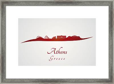 Athens Skyline In Red Framed Print by Pablo Romero