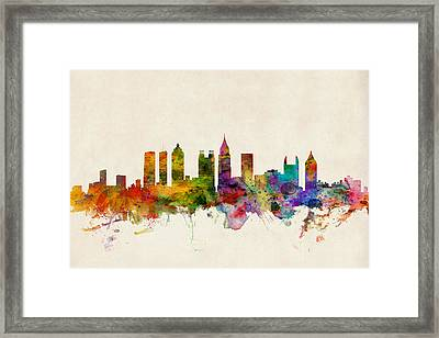 Atlanta Georgia Skyline Framed Print by Michael Tompsett