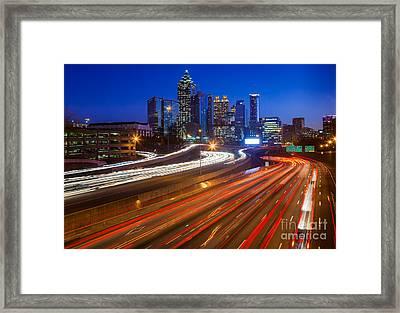 Atlanta Interstate I-85 By Night Framed Print by Inge Johnsson