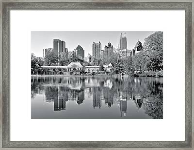 Atlanta Reflecting In Black And White Framed Print by Frozen in Time Fine Art Photography