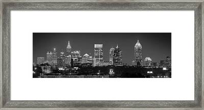 Atlanta Skyline At Night Downtown Midtown Black And White Bw Panorama Framed Print by Jon Holiday