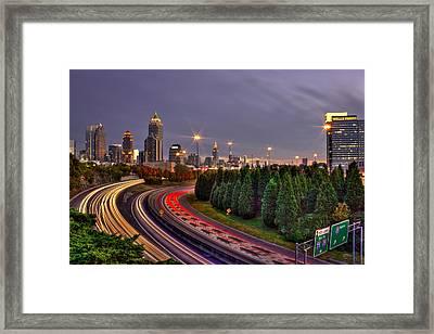 Atlanta Sundown Night Lights Framed Print by Reid Callaway