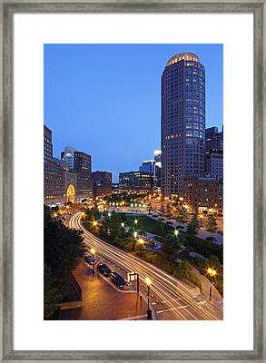Atlantic Avenue With One International Place And Boston Harbor Hotel Framed Print by Juergen Roth