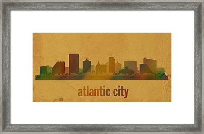 Atlantic City New Jersey Skyline Watercolor On Parchment Framed Print by Design Turnpike