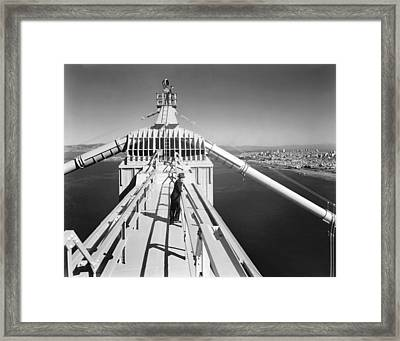 Atop The Golden Gate Bridge Framed Print by Underwood Archives