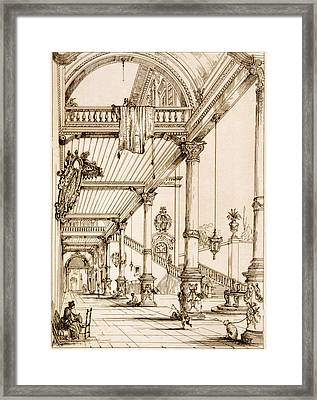 Atrium Of A Palace, In Genes, From Art Framed Print by Jean Francois Albanis de Beaumont