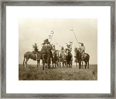 Atsina Warriors On Horseback Framed Print by Underwood Archives