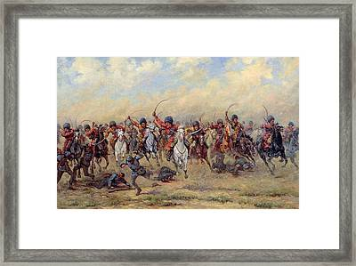 Attack Of The Savage Division On The Austrian Infantry Framed Print by Viktor Viketyevich Masurovsky