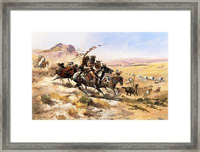Attack On The Wagon Train Framed Print by Charless Russell