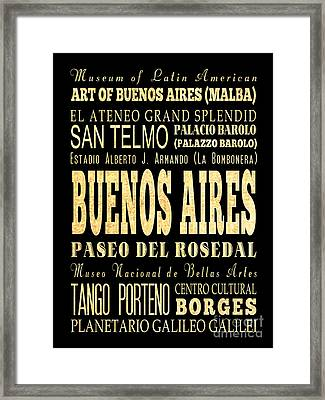 Attraction And Famous Places Of Buenos Aires Argentina Framed Print by Joy House Studio