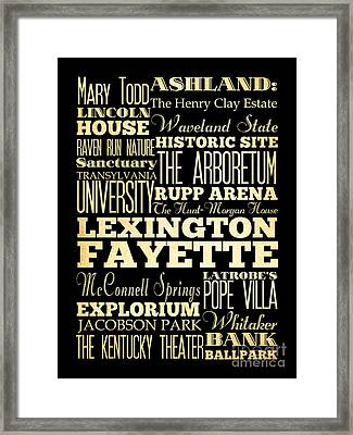 Attractions And Famous Places Of Lexington Fayettte Kentucky Framed Print by Joy House Studio