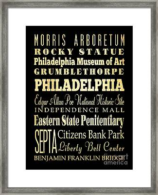 Attractions And Famous Places Of Philadelphia Pennsylvania Framed Print by Joy House Studio