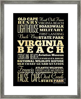 Attractions And Famous Places Of  Virginia Beach Virginia Framed Print by Joy House Studio