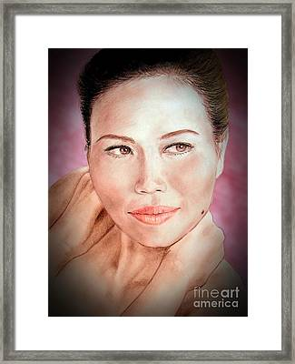 Attractive Asian Woman With Her Hair Pulled Back Fade To Black Vrsion Framed Print by Jim Fitzpatrick