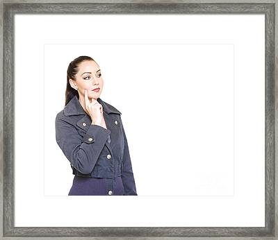Attractive Female Detective With Clue Copyspace Framed Print by Jorgo Photography - Wall Art Gallery