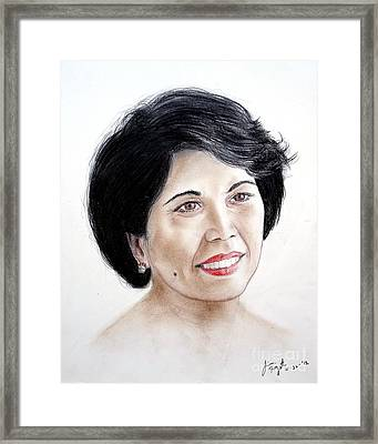 Attractive Filipina Woman With A Facial Mole Framed Print by Jim Fitzpatrick