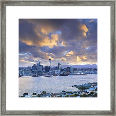 Auckland At Sunset Framed Print by Colin and Linda McKie