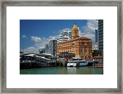 Auckland Ferry Terminal, And Historic Framed Print by David Wall