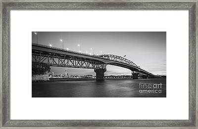 Auckland Harbour Bridge Evening Framed Print by Colin and Linda McKie