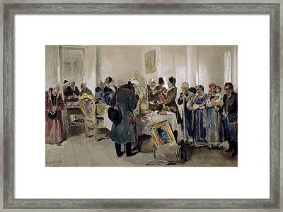 Auction Of Serfs Framed Print by Klavdiy Vasilievich Lebedev