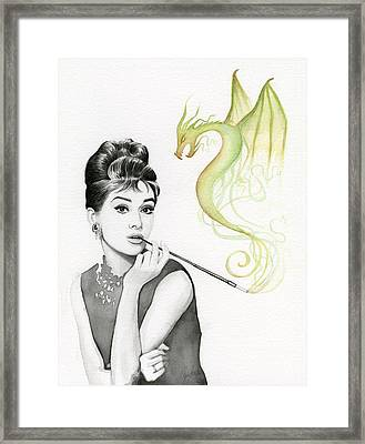 Audrey And Her Magic Dragon Framed Print by Olga Shvartsur
