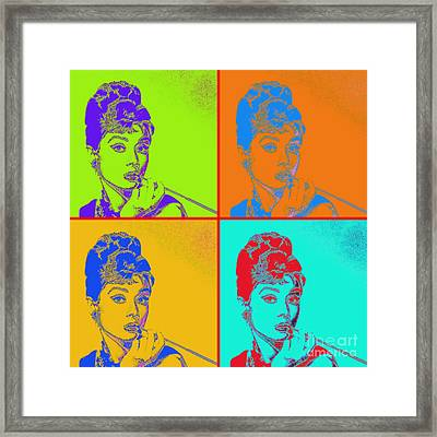 Audrey Hepburn 20130330v2 Four Framed Print by Wingsdomain Art and Photography