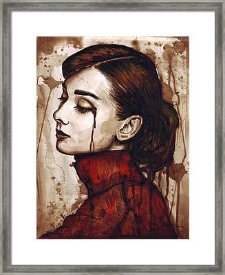 Audrey Hepburn - Quiet Sadness Framed Print by Olga Shvartsur