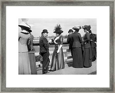 August Belmont At Horse Track Framed Print by Underwood Archives