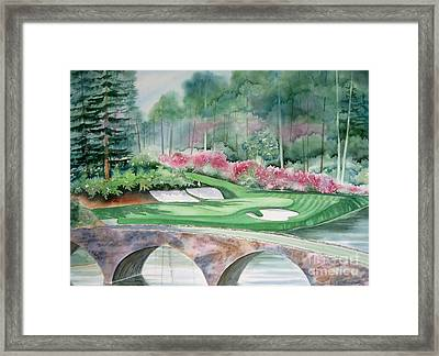 Augusta National 12th Hole Framed Print by Deborah Ronglien