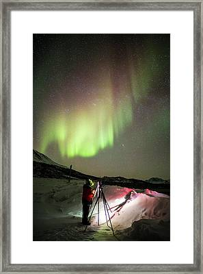 Aurora Borealis And Photographer Framed Print by Chris Madeley