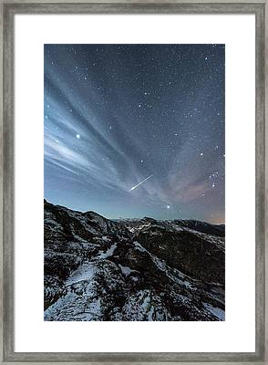 Aurora Borealis And Shooting Star Framed Print by Tommy Eliassen