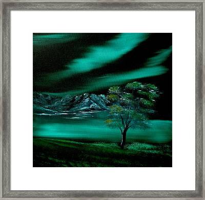Aurora Borealis In Oils. Framed Print by Cynthia Adams