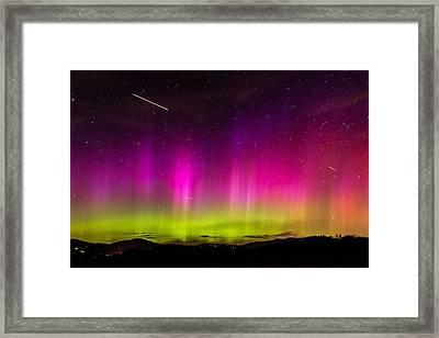 Aurora Borealis Over The Camden Hills Framed Print by Tim Sullivan