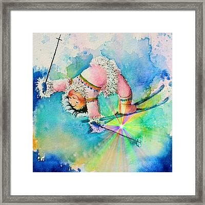 Aurora Skier Framed Print by Hanne Lore Koehler
