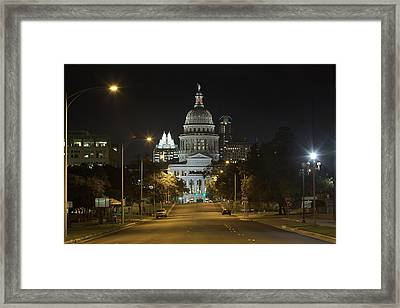 Austin Images - The Texas State Capitol At Night Looking South Framed Print by Rob Greebon