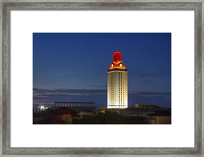 The University Of Texas Tower After A Longhorn Win In Austin Texas Framed Print by Rob Greebon