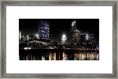 Austin Night Skyline Reflections  Framed Print by Gary Gibich